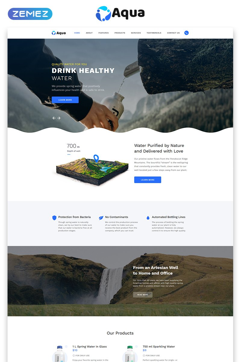 """Landing Page Template namens """"Aqua - Water Clean HTML Bootstrap"""" #77532"""