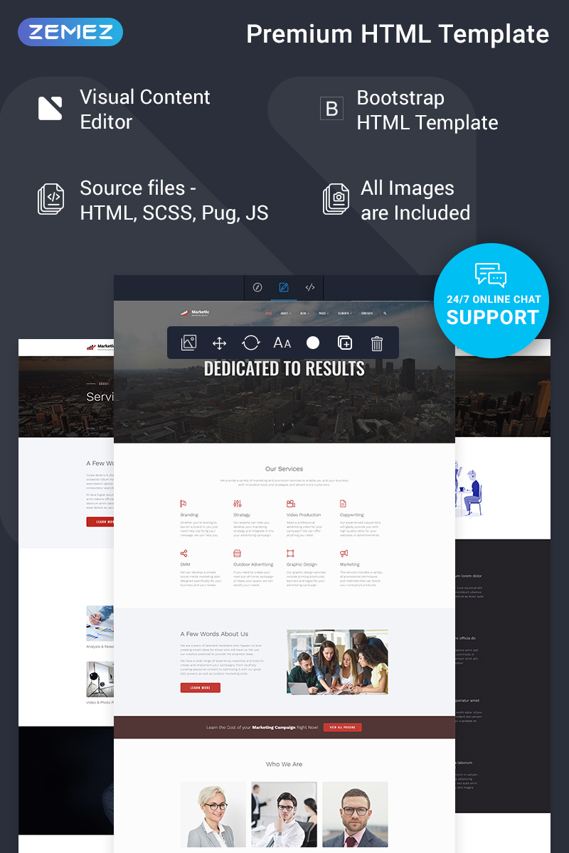 """Marketic - Advertising Agency Ready-to-Use Clean HTML"" Responsive Website template №77547"