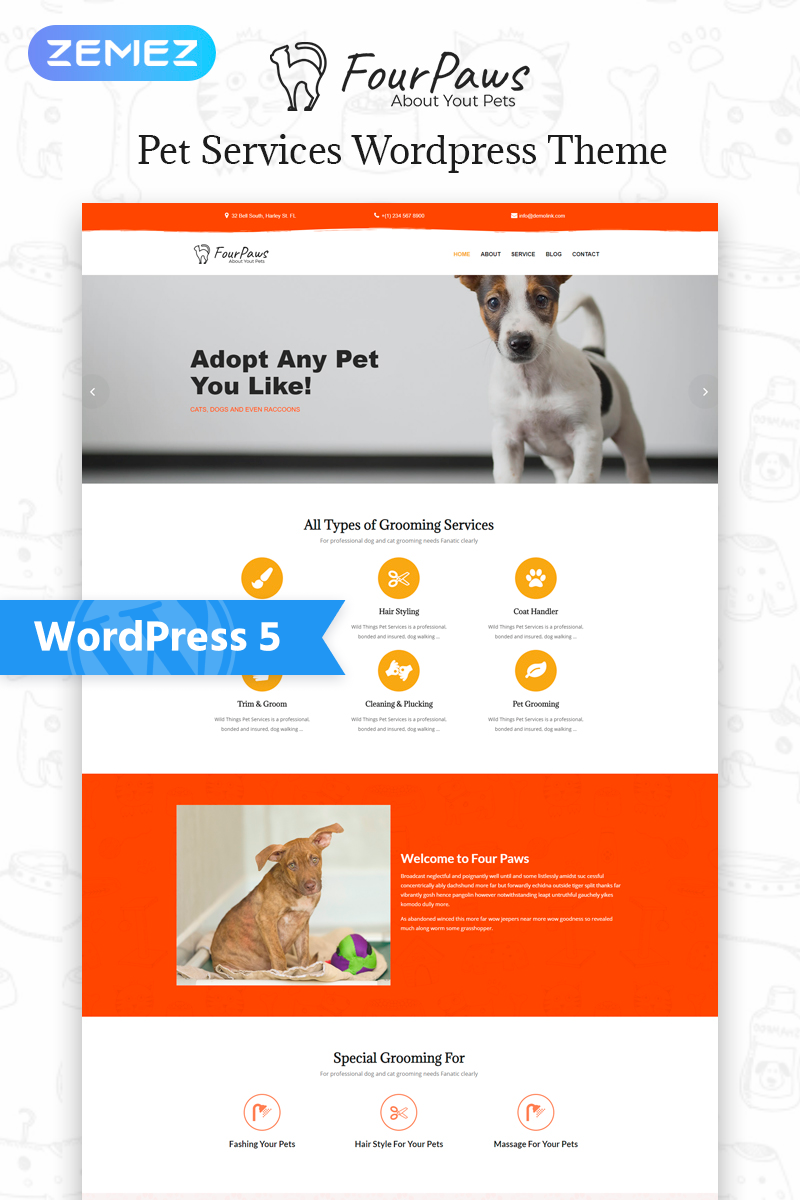 Responsive Four Paws - Pet Services Multipurpose Classic Elementor Wordpress #77545