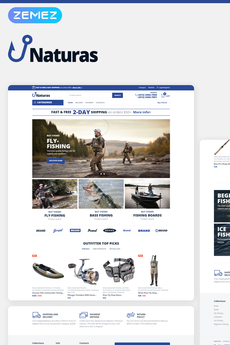 Responsivt Naturas - Fishing ECommerce Classic Elementor WooCommerce-tema #77563