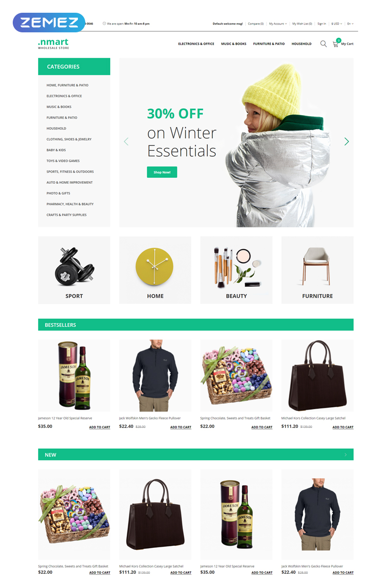 Responsivt .nmart - Wholesale Clean OpenCart-mall #77549