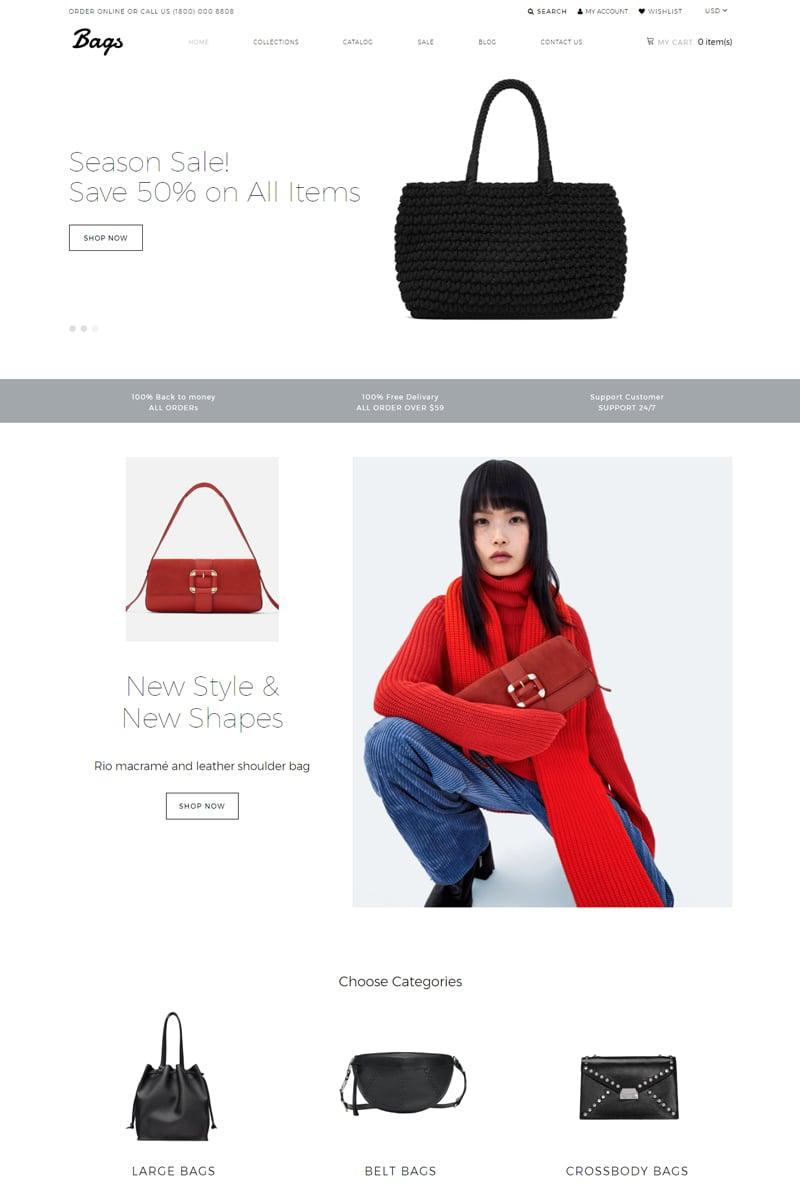 "Responzivní Shopify motiv ""Bags - Fashion Store Clean"" #77565"
