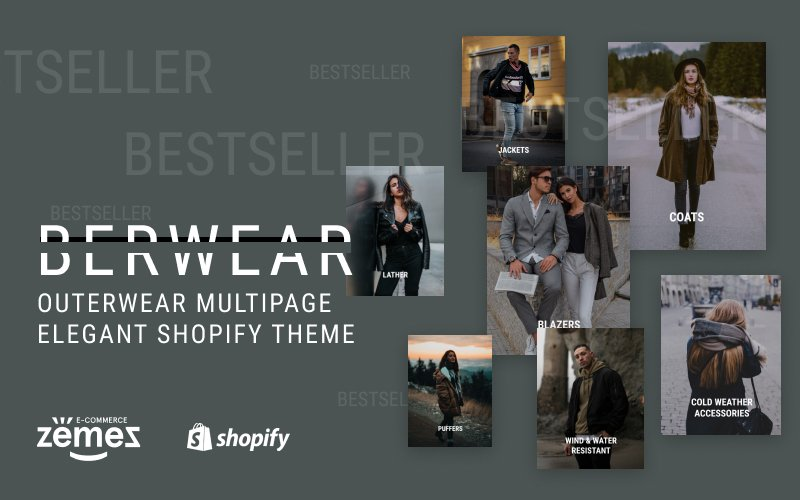 "Shopify Theme namens ""BERWEAR - Fashion Multipage Elegant"" #77541"