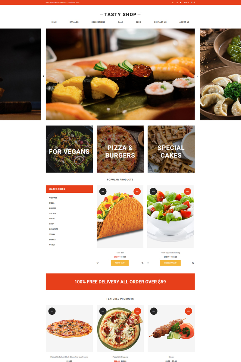 Tasty Shop - Food & Restaurant Clean Shopify Theme