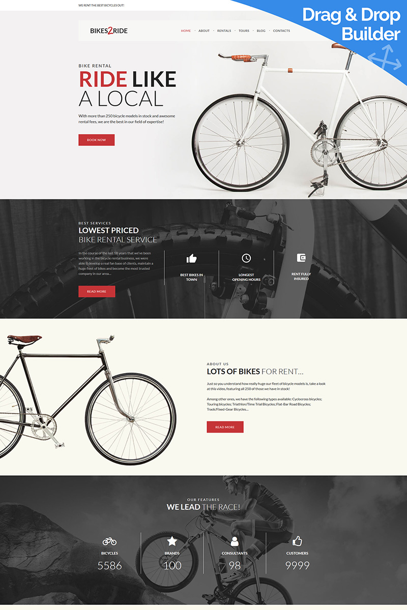 """Template Moto CMS 3 Responsive #77536 """"Bikes2Ride - Cycling"""""""