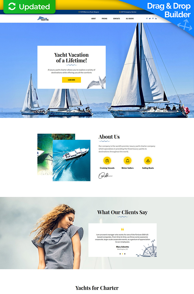 """Yachting - Yacht Club"" Responsive Landingspagina Template №77562 - screenshot"
