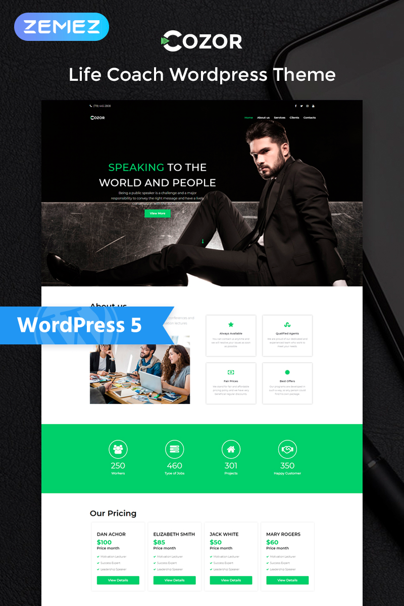 Cozor - Life Couch Multipurpose Animated Elementor WordPress Theme