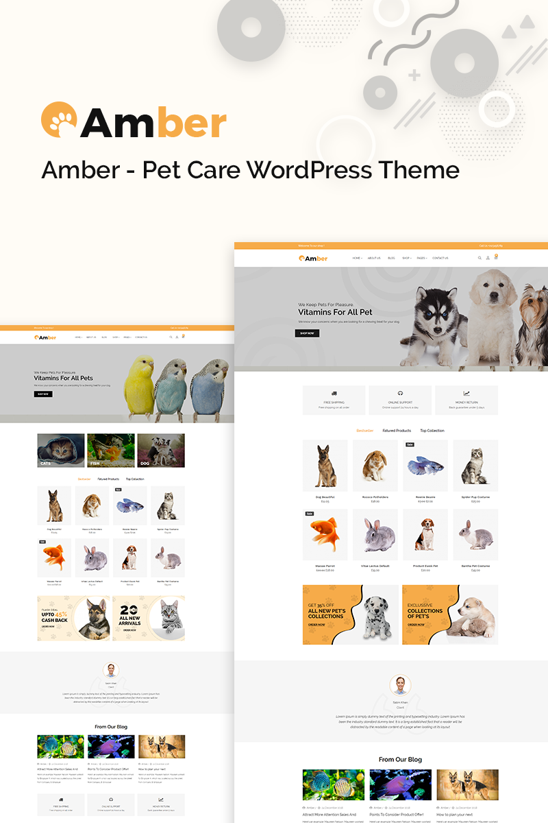 """Amber Pet Care"" thème WooCommerce adaptatif #77640"