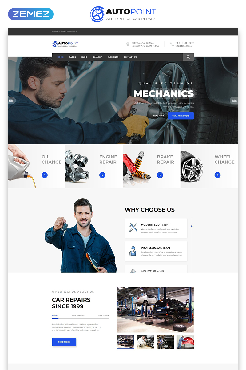 """""""Autopoint - Car Repair Multipage Creative HTML"""" 响应式网页模板 #77642"""