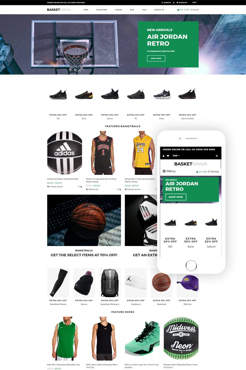 """Basketmania - Basketball Multipage Clean"" 响应式Shopify模板 #77629"