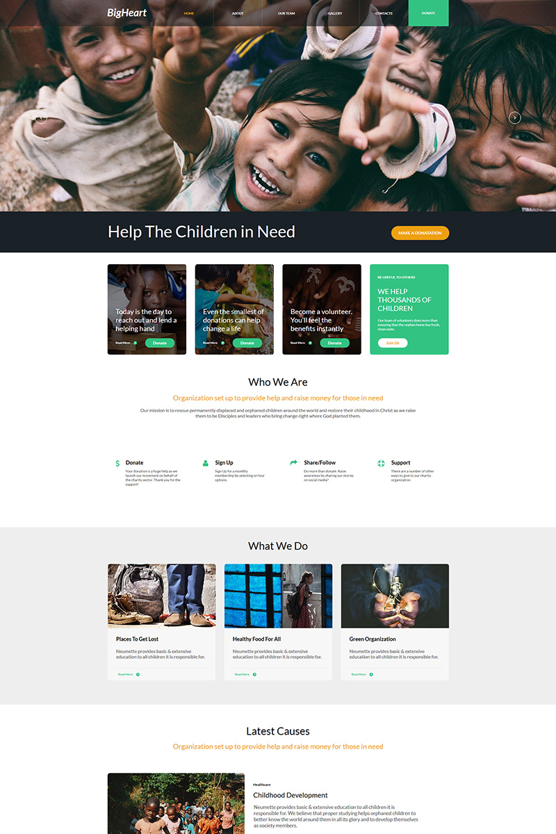 """BigHeart - Charity"" modèle Moto CMS HTML  #77617"