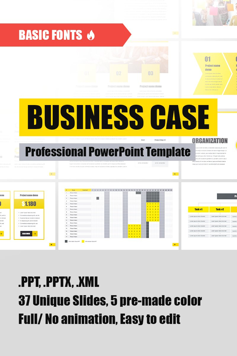 business case powerpoint template  77634