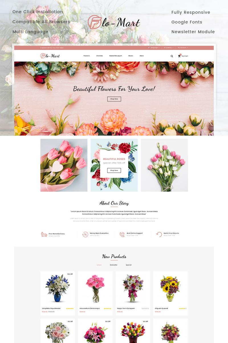 """FloMart Flowers Shop"" 响应式OpenCart模板 #77635"