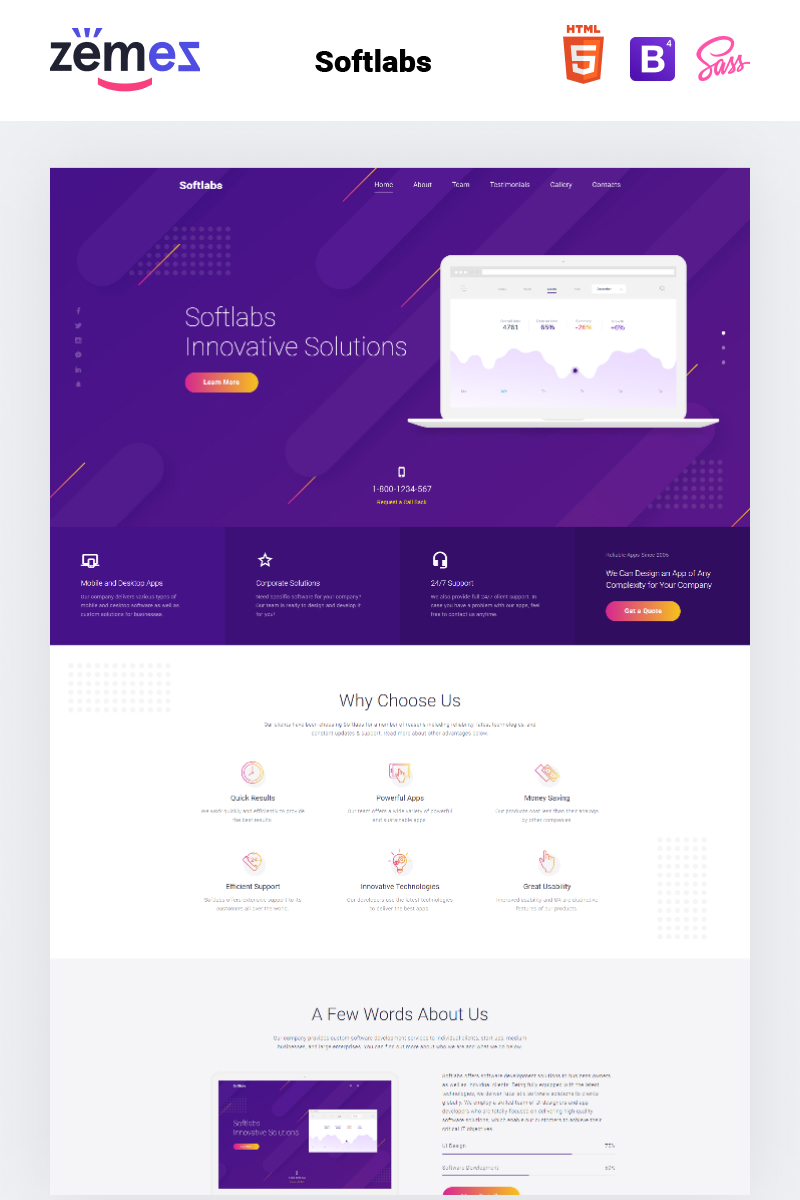 """Landing Page Template namens """"Softlabs - Software Company Creative HTML Bootstrap"""" #77619"""