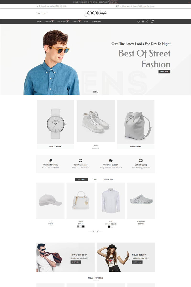 """""""Look Style - Multipurpose"""" 响应式Shopify模板 #77614"""