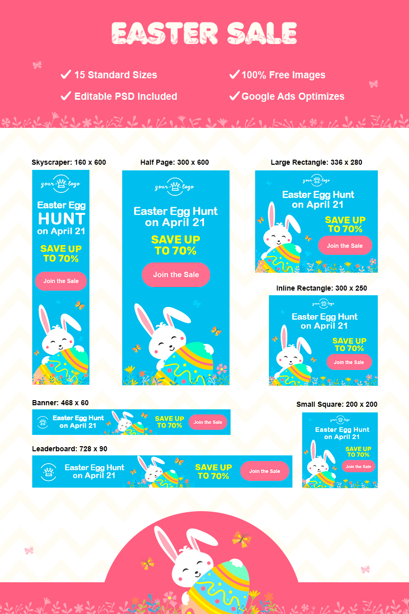 "Modello Animated Banner #77621 ""Easter Adwords Set"""