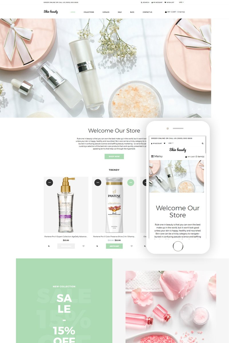 Responsivt Skin beauty - Cosmetics Store Clean Shopify-tema #77630