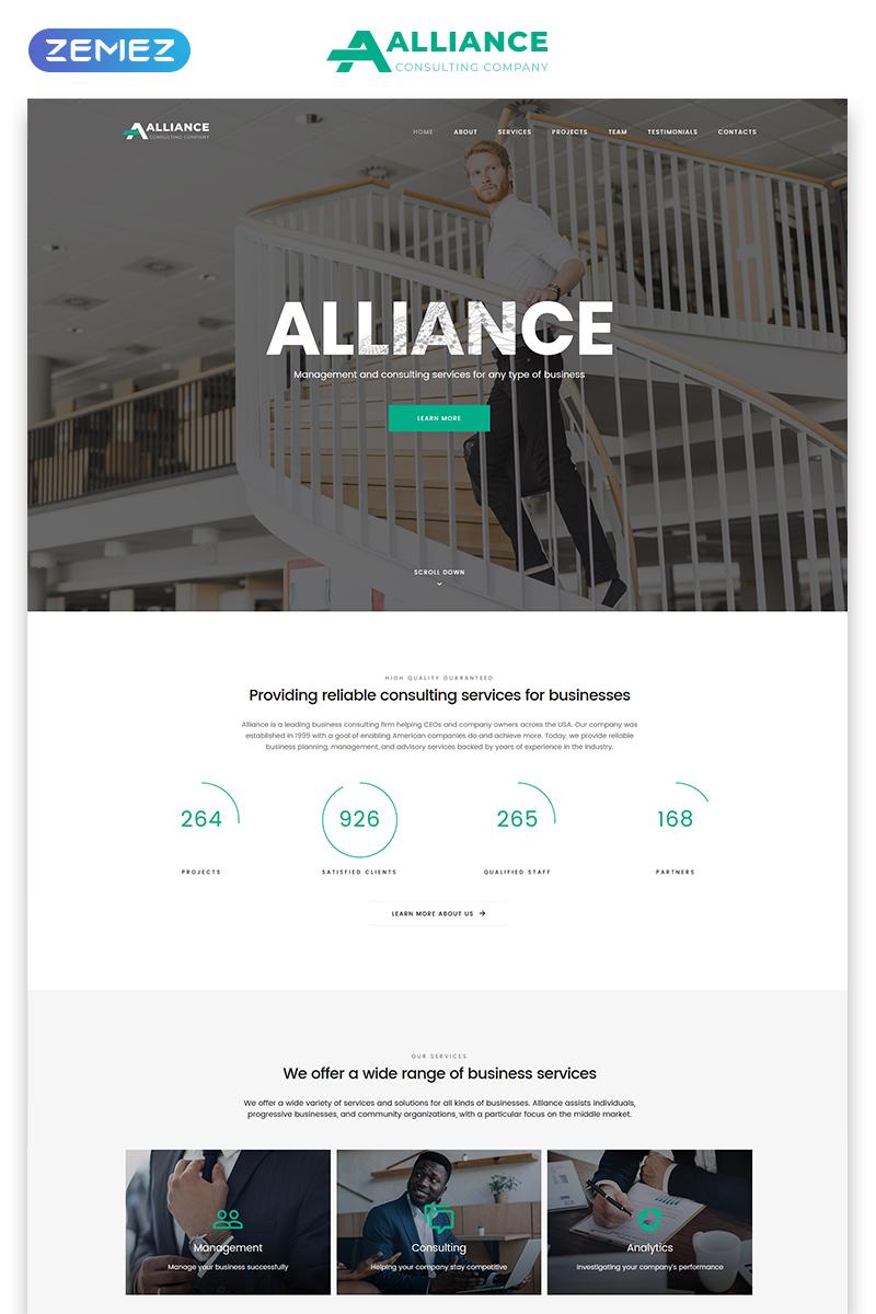 Responsywny szablon Landing Page Alliance - Management & Consulting Modern HTML5 #77695 - zrzut ekranu