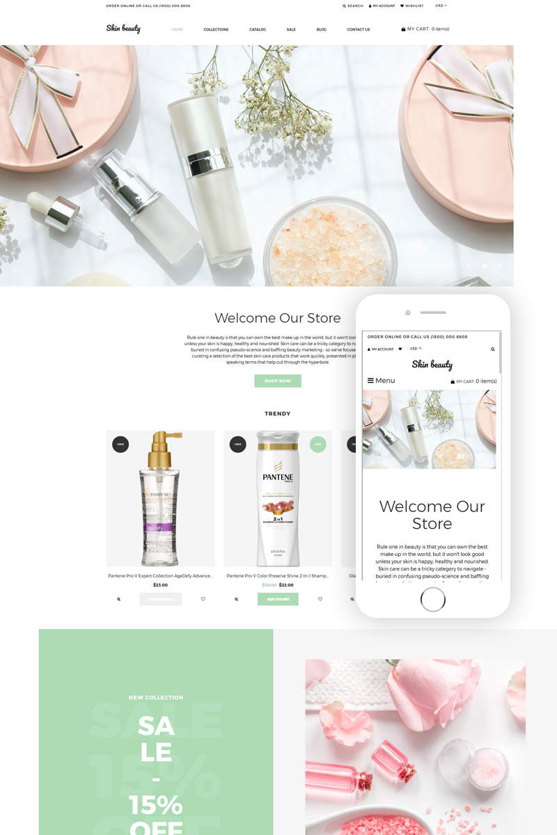 """""""Skin beauty - Cosmetics Store Clean"""" 响应式Shopify模板 #77630"""