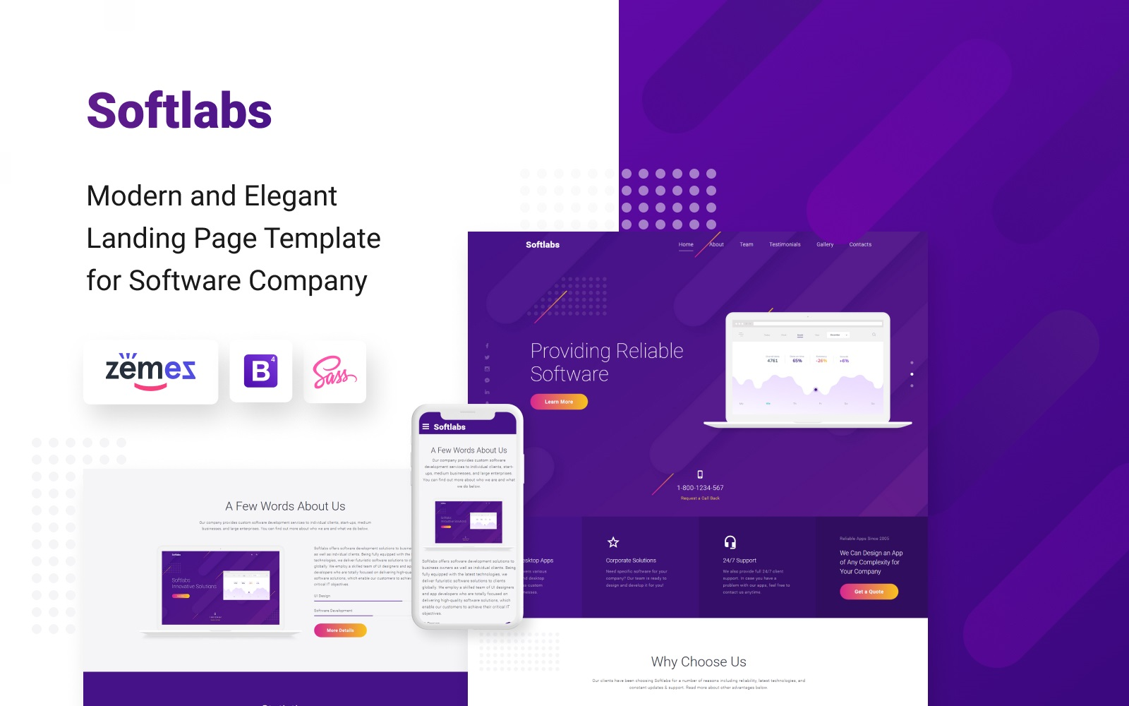 """Softlabs - Software Company Creative HTML Bootstrap"" 响应式着陆页模板 #77619"