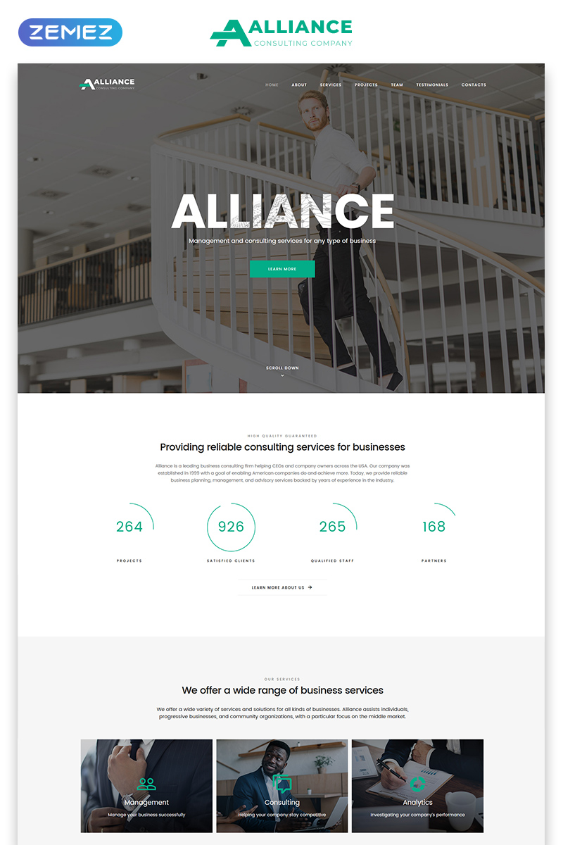 """Template di Landing Page Responsive #77695 """"Alliance - Management & Consulting Modern HTML5"""" - screenshot"""