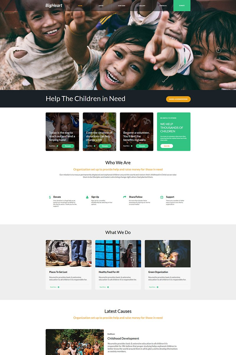 "Template Moto CMS HTML #77617 ""BigHeart - Charity"""