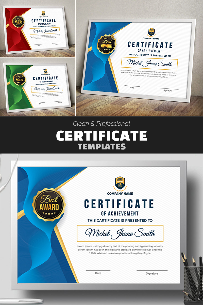 "Zertifikat-Vorlage namens ""Award Design with Geometric Shapes"" #77623"