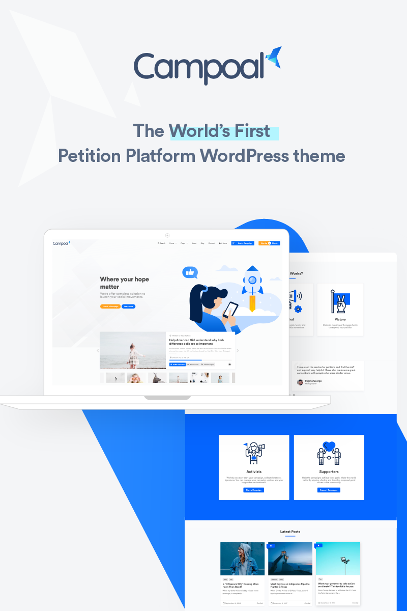 """Campoal - Petition Platform & Fundraising"" thème WordPress adaptatif #77715"