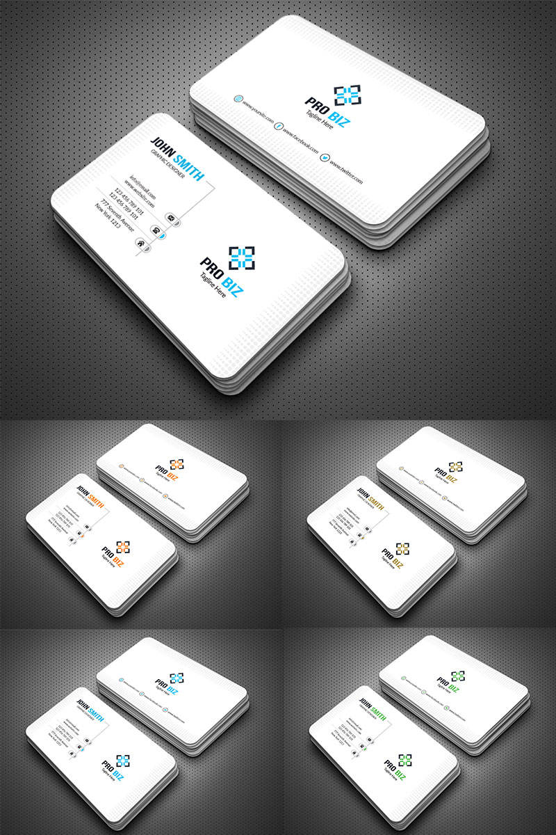 """""""Clean & Clear Business Card"""" 企业设计模板 #77796"""