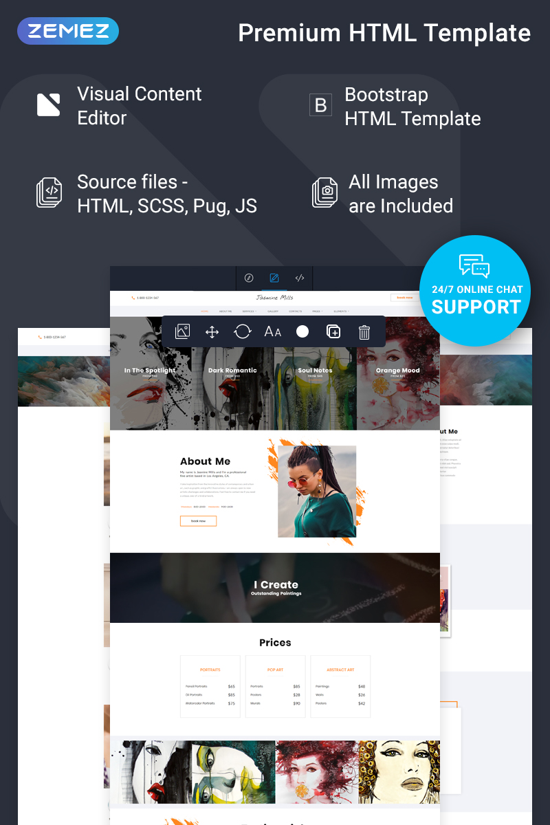 Jasmine Mills - Art Ready-to-Use Creative HTML Template Web №77733