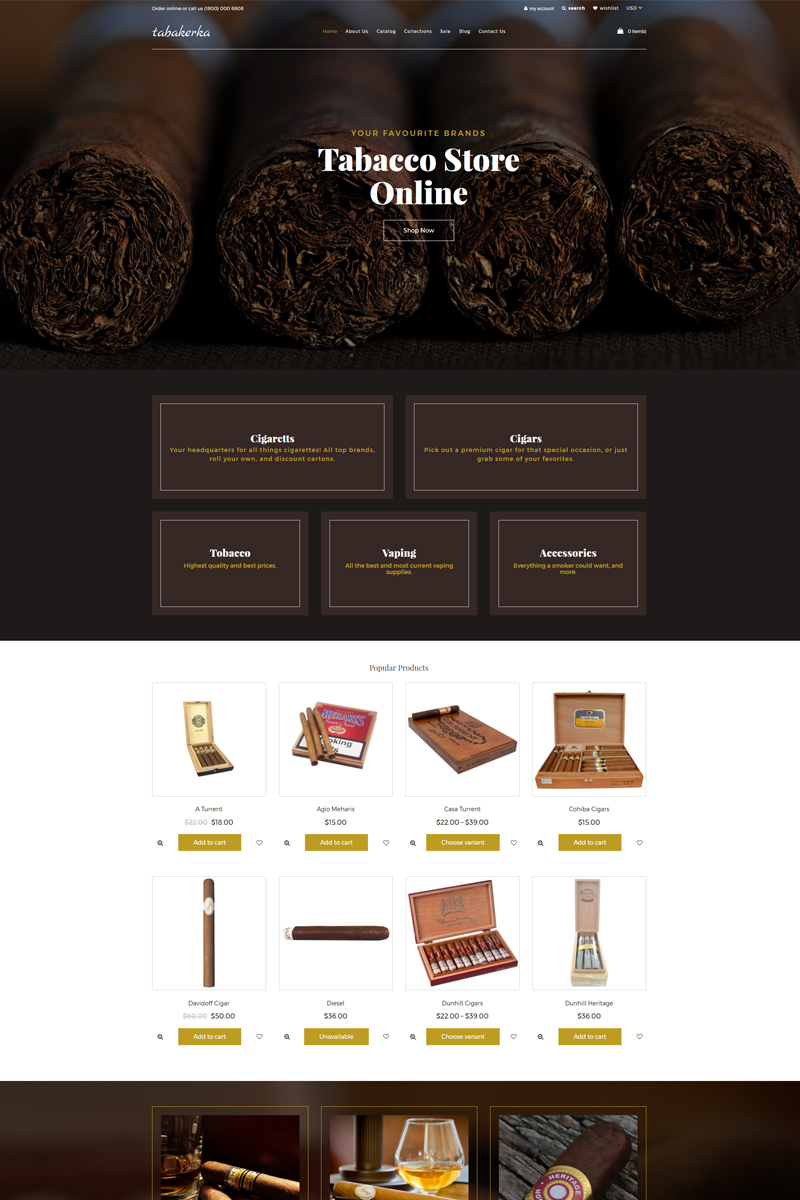 "Modello Shopify Responsive #77717 ""Tabakerka - Tobacco Multipage Clean"""