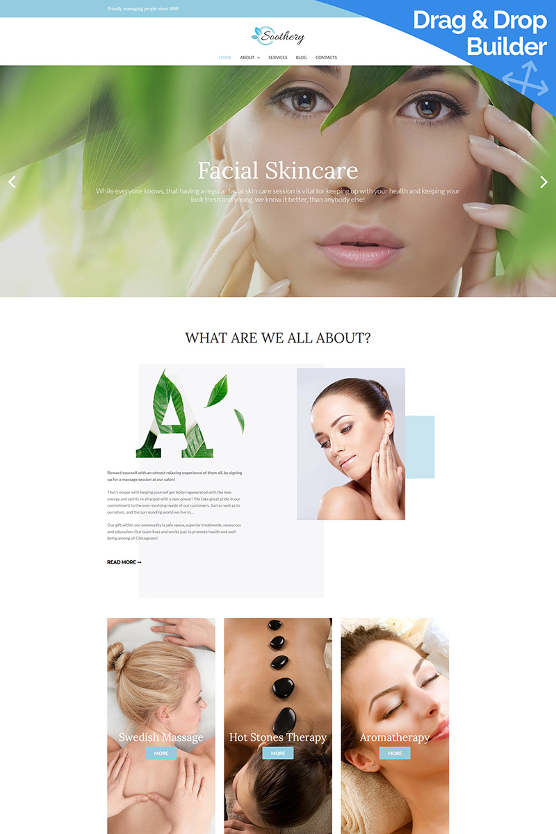 """Moto CMS 3 Template namens """"Soothery - SPA & Massage Salon"""" #77789"""