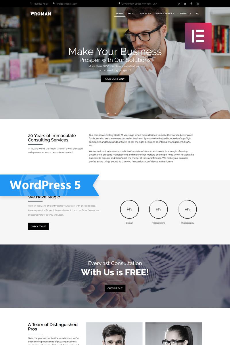 """Proman - Business Multipurpose Modern Elementor"" Responsive WordPress thema №77788"