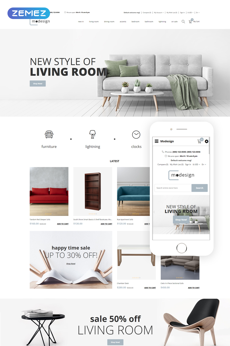 Responsivt Modesing - Design Multipage Clean OpenCart-mall #77723