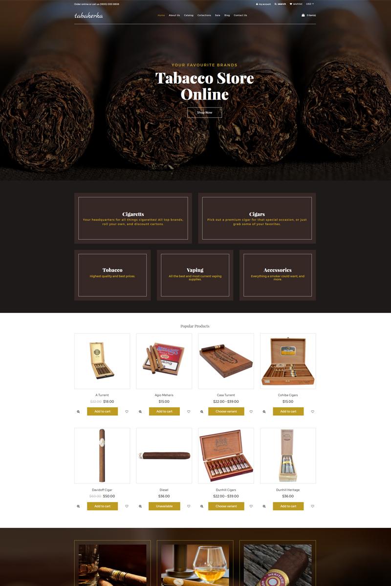 """Tabakerka - Tobacco Multipage Clean"" - адаптивний Shopify шаблон №77717"