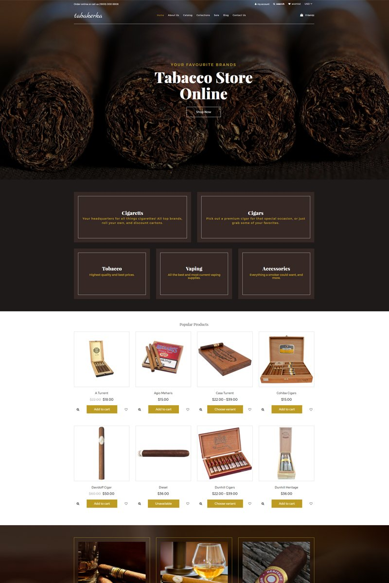 """Tema Shopify """"Tabakerka - Tobacco Multipage Clean"""" #77717"""