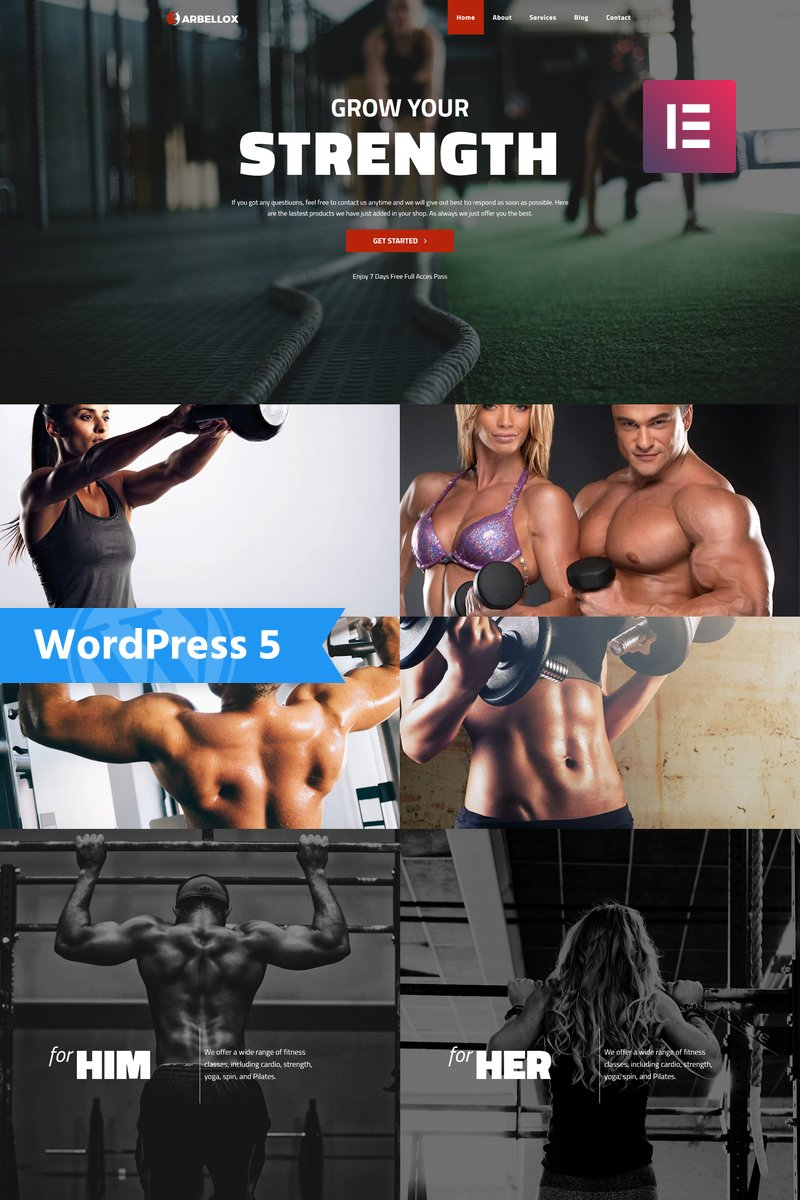 Barbellox - Gym Multipurpose Modern Elementor Tema WordPress №77841
