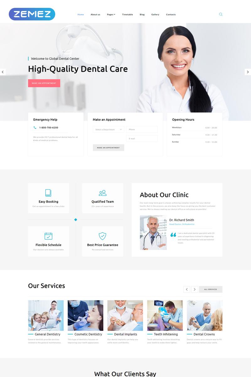 """Global Dental Center - Dentistry Clean Usable"" - адаптивний Joomla шаблон №77829"