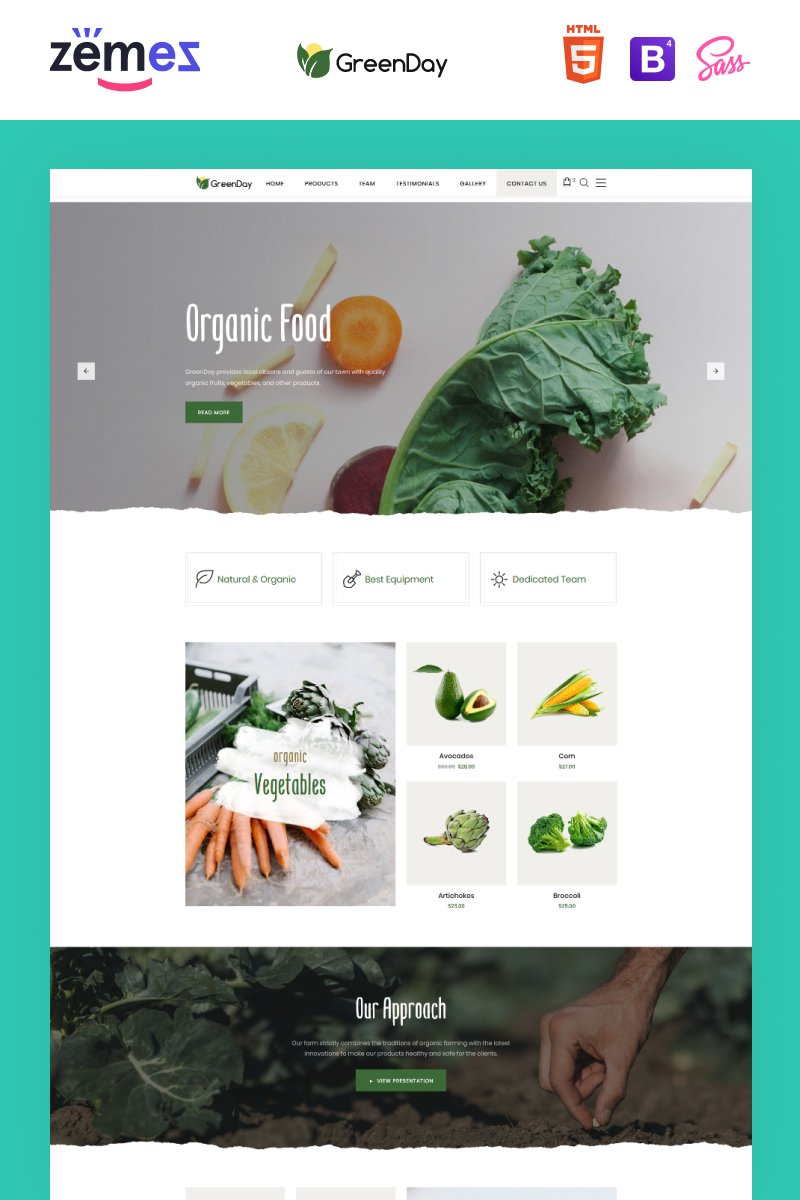 """Green Day - Food Store Clean HTML Bootstrap"" 响应式着陆页模板 #77836"