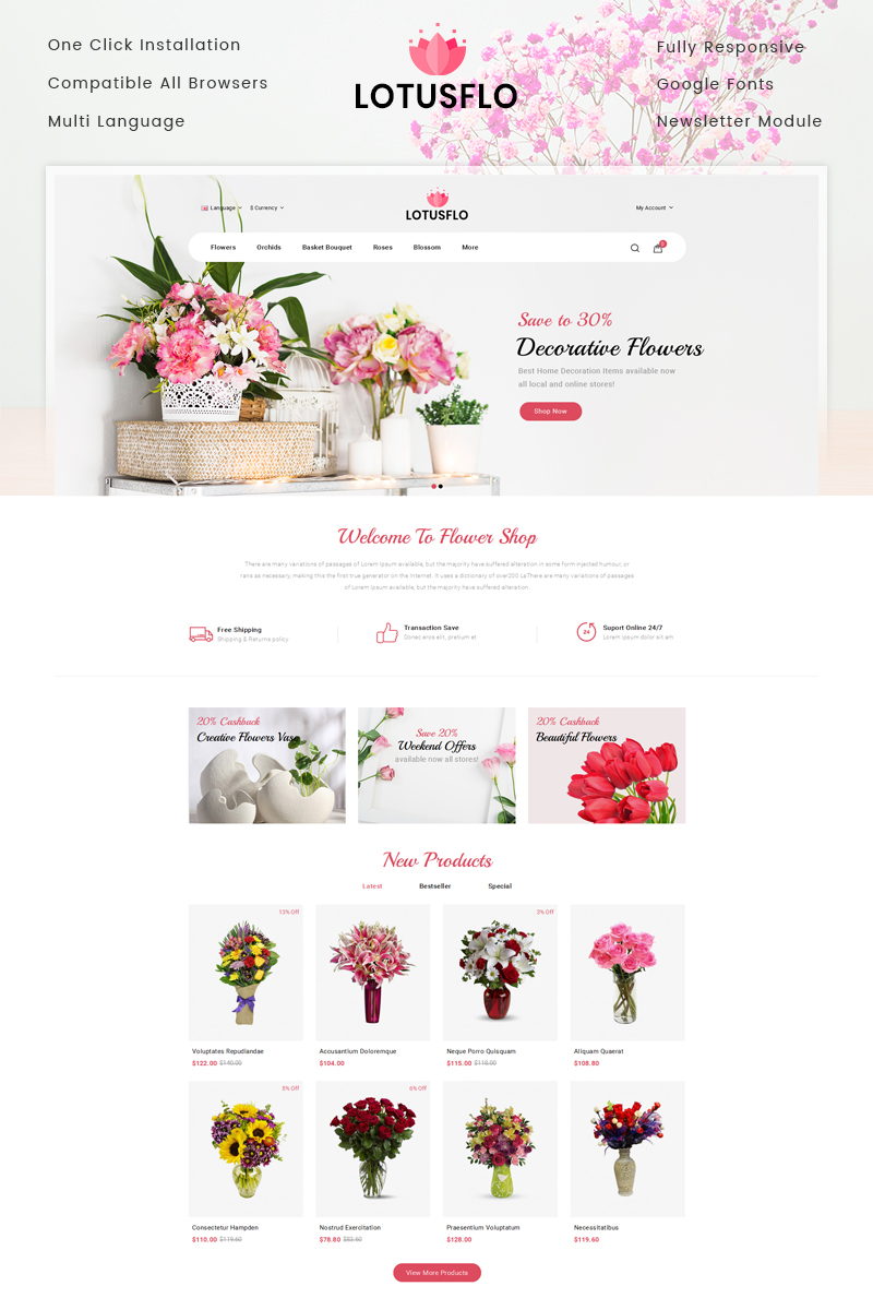 Lotusflo - Flowers Store OpenCart Template - screenshot