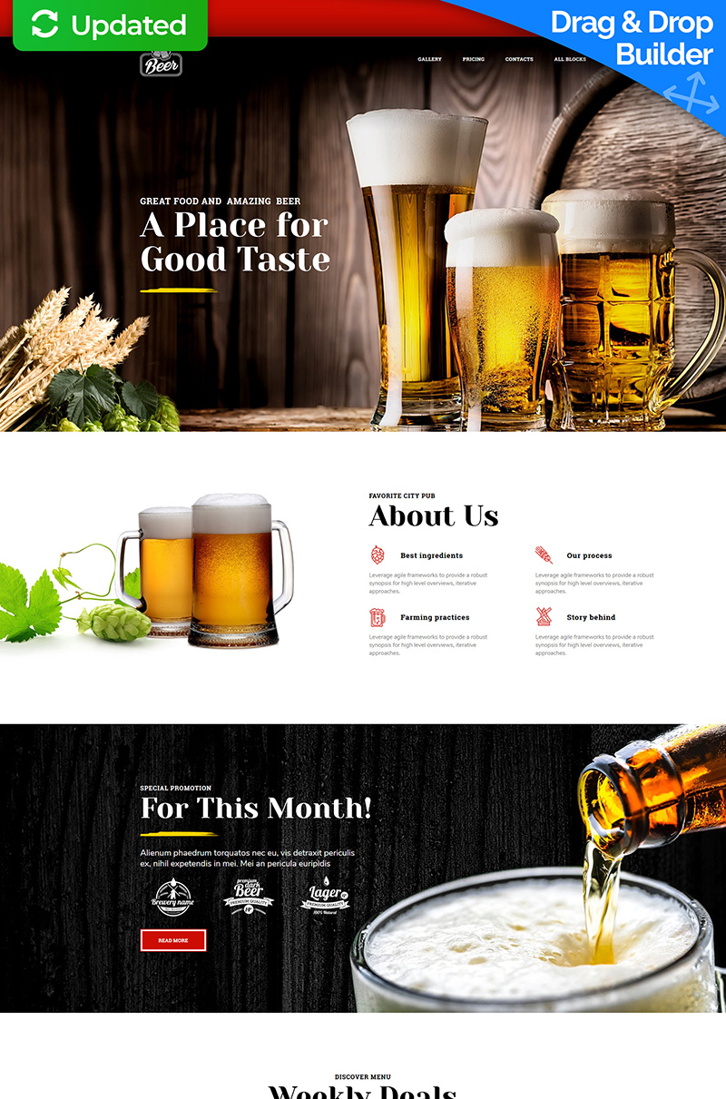 """Modello di Landing Page Responsive #77804 """"Beer - Brewery"""""""