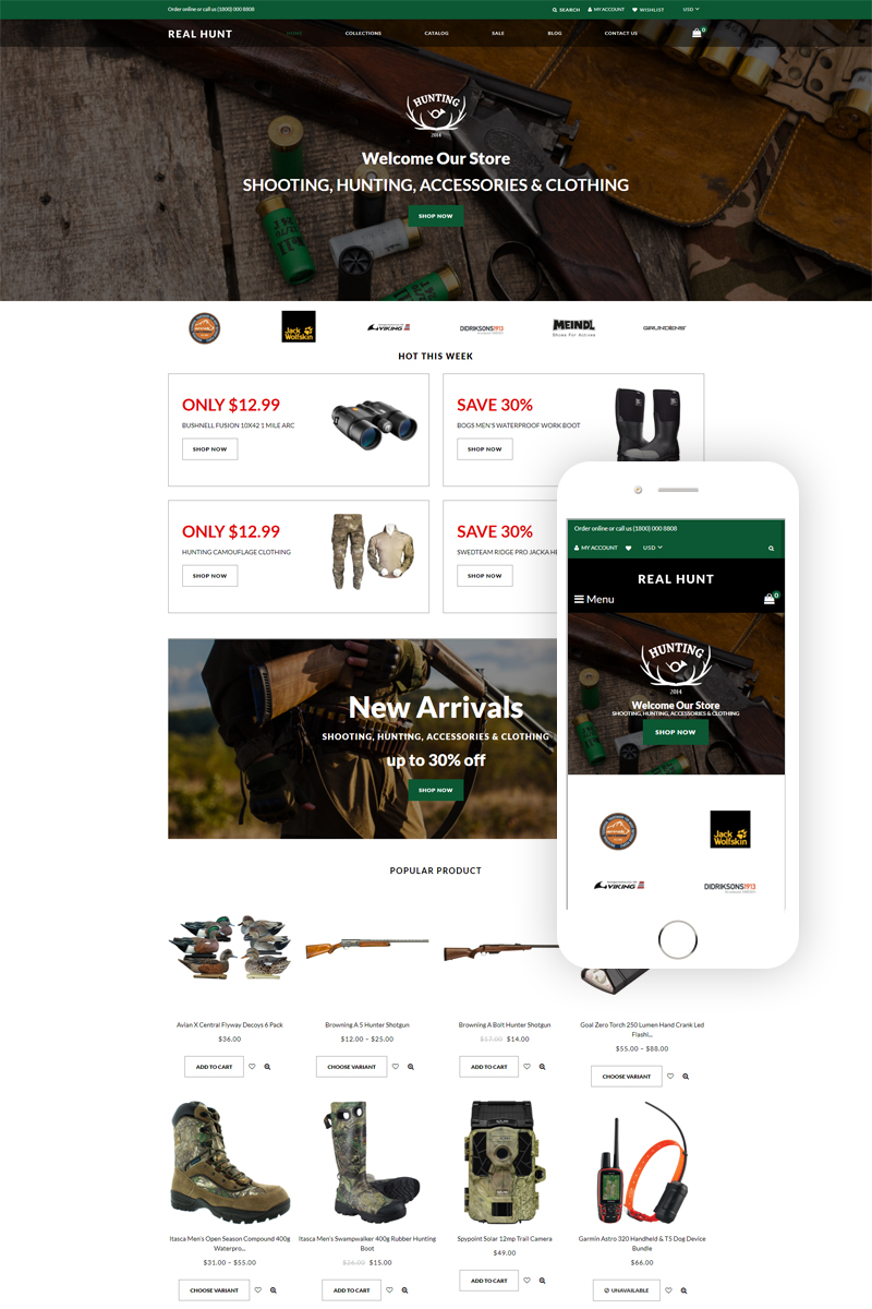 """Modello Shopify Responsive #77864 """"Real Hunt - Hunting Clean"""""""