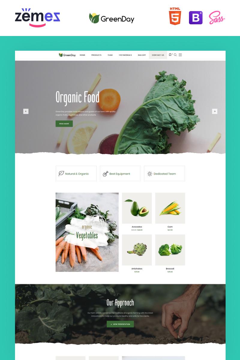 Responsive Green Day - Food Store Clean HTML Bootstrap Açılış Sayfası #77836