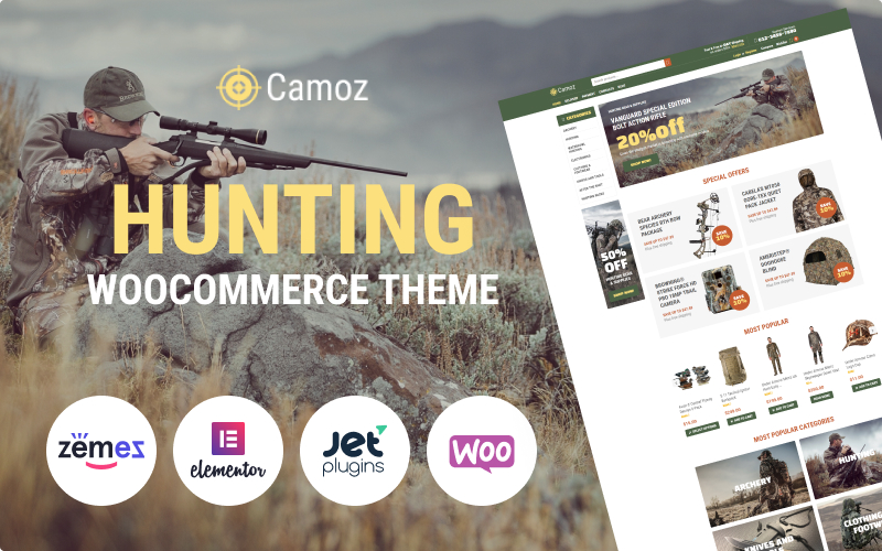 Responsywny motyw WooCommerce Camoz - Hunting ECommerce Classic Elementor #77840