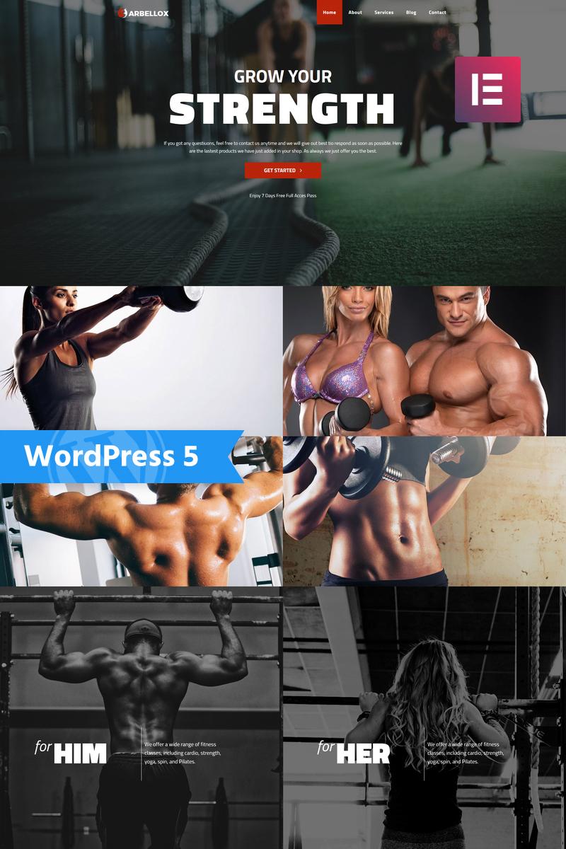 "Tema De WordPress ""Barbellox - Gym Multipurpose Modern Elementor"" #77841"