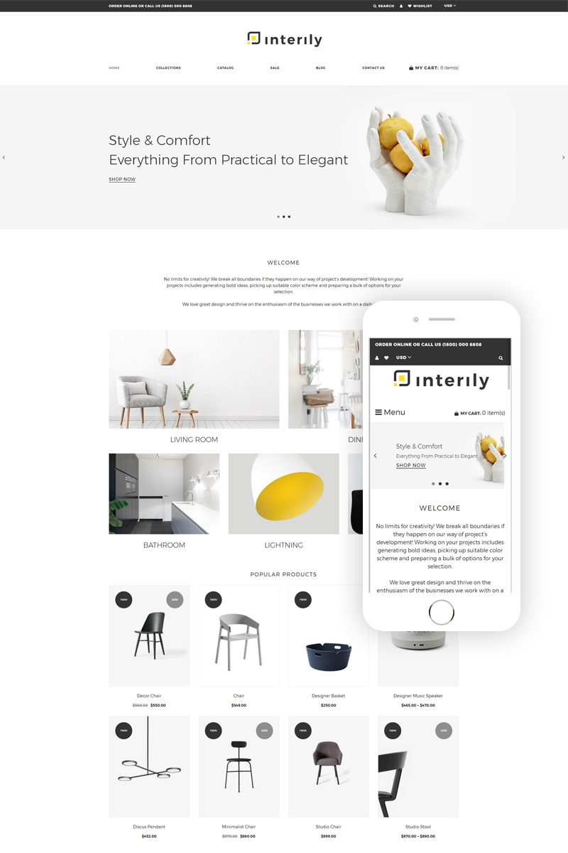 """Tema Shopify """"Interily - Interior and Furniture Elegant Multipage"""" #77800"""