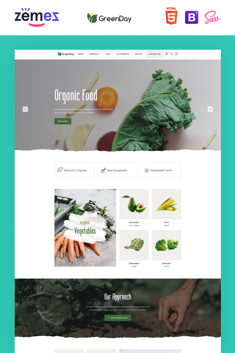 "Template di Landing Page Responsive #77836 ""Green Day - Food Store Clean HTML Bootstrap"""