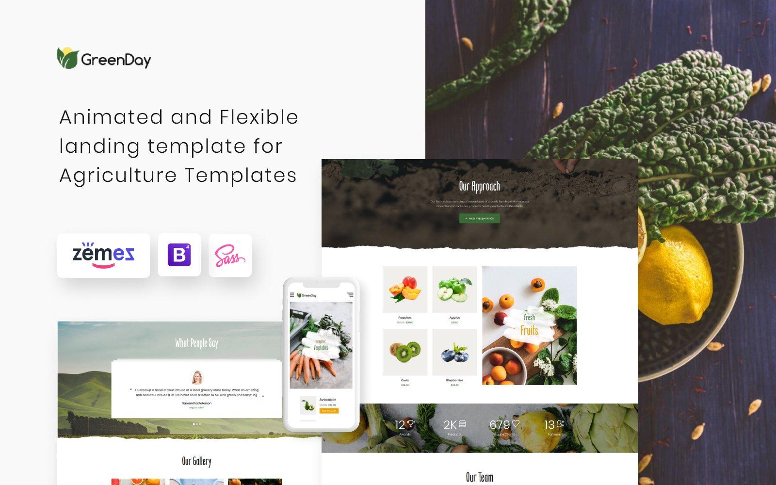 "Template di Landing Page Responsive #77836 ""GreenDay - Organic Farm"""