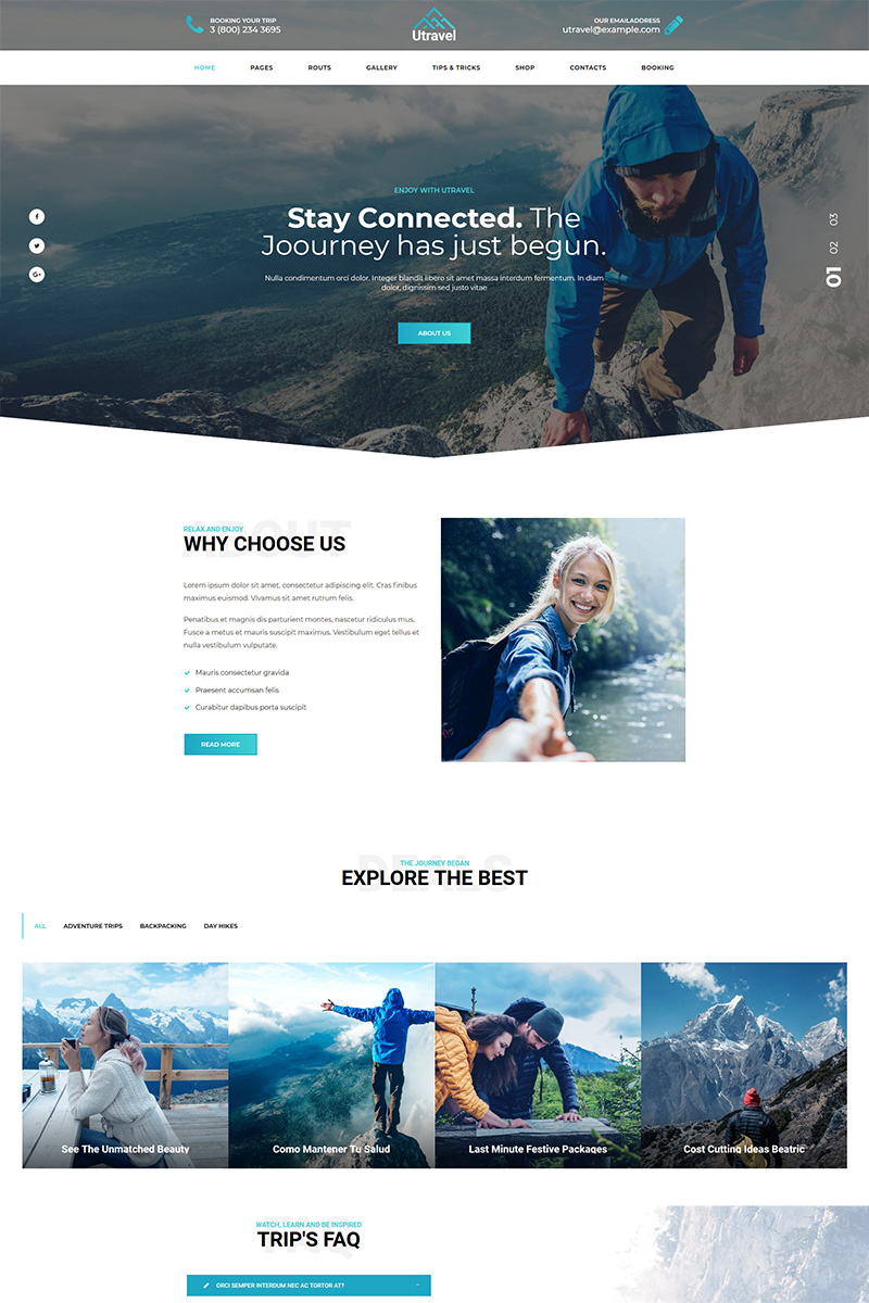 """Utravel - Hiking And Outdoors Travel"" WordPress模板 #77832 - 截图"
