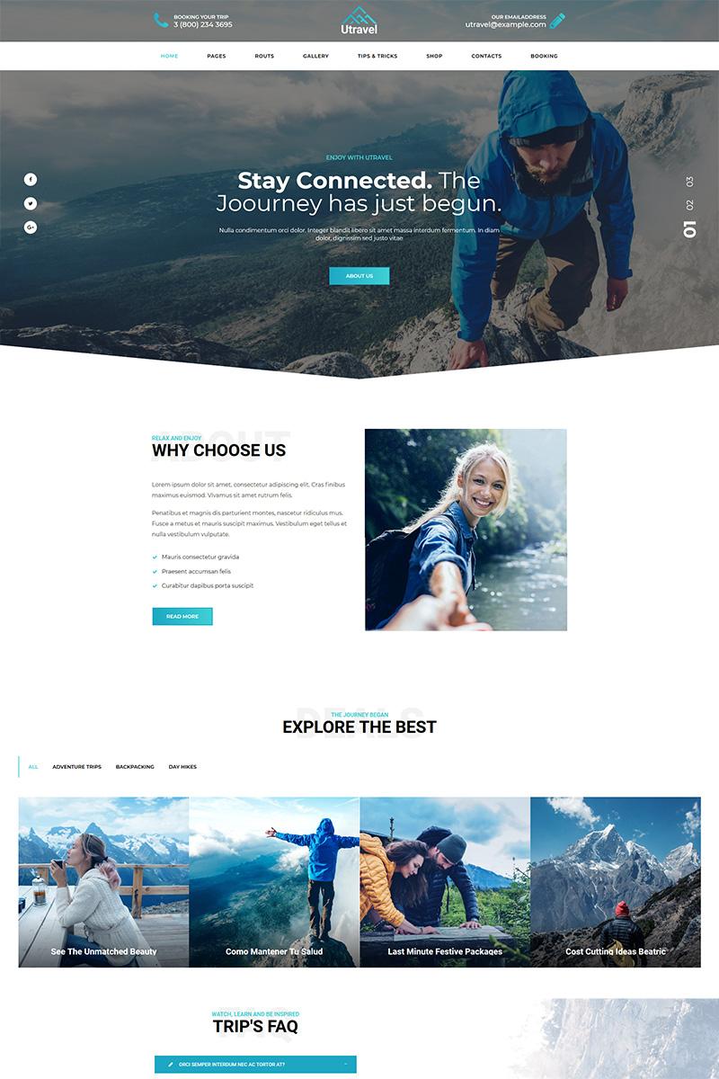 """""""Utravel - Hiking And Outdoors Travel"""" WordPress thema №77832"""